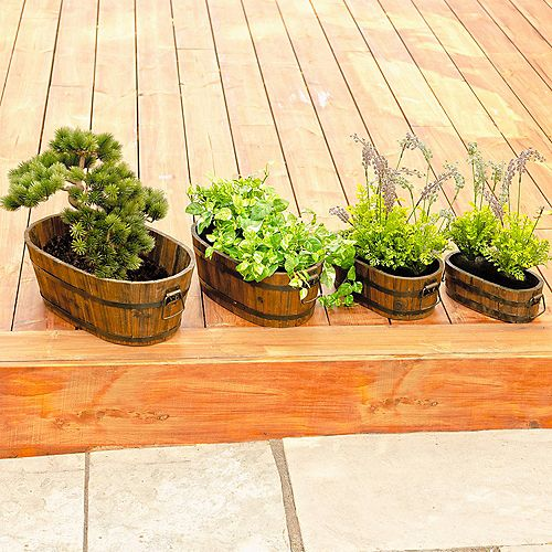 Leisure Season Set of 4 Barrel Style Oval Wooden Planters