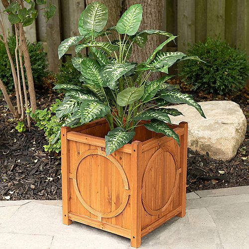 Leisure Season Hampton Square Wooden Planter