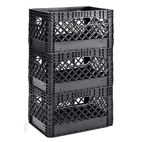 19 inch W x 11 inch H Stackable Plastic Milk Crate Bin in Black (3-Pack)