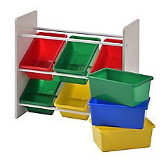 1 Gal. Multi-Color Bins with 3-Tier Organizer for Toys in White