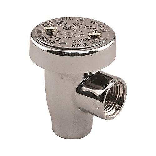 Disjoncteur Brise-Vide Anti-Siphon, Antirefoulement, 1/2Po, Chrome, Laiton Sans Plomb, De Watts
