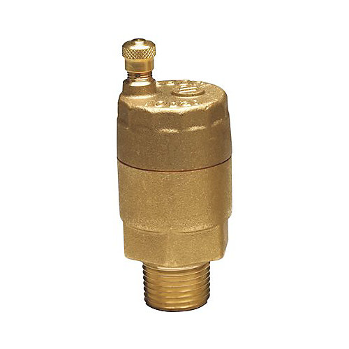 Watts Automatic Vent Valve, Male Npt Connection, Brass Body, Silicone Rubber Seal, 1/8 In.