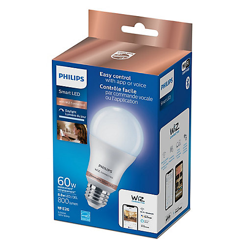 WiZ 60W A19 Frosted Dimmable Daylight LED Smart Home Wi-Fi Light Bulb