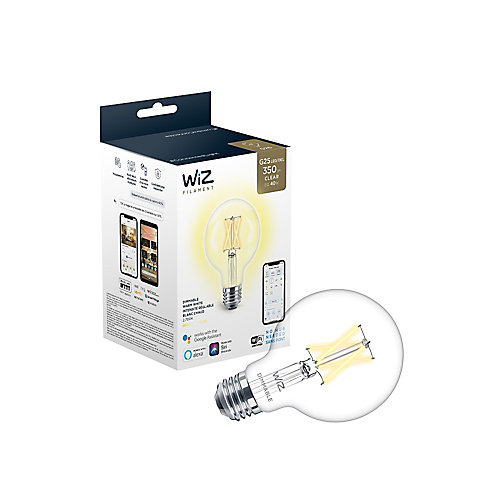 WiZ Filament 40W G25 2700K Clear WiFi Dimmable Deco Vintage LED Smart Light Bulb