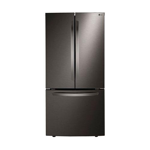 LG Electronics Réfrigérateur à porte française de 33 pouces de largeur et 25 pieds cubes en acier inoxydable noir résistant aux taches - ENERGY STAR