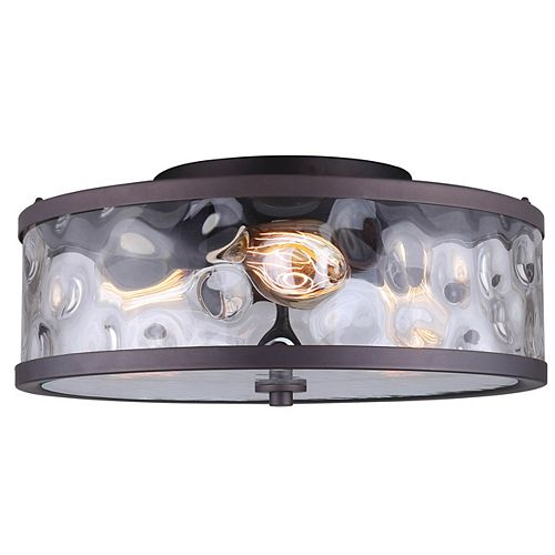 Canarm Cala 3-Light Oil Rubbed Bronze Flush Mount with Watermark Glass