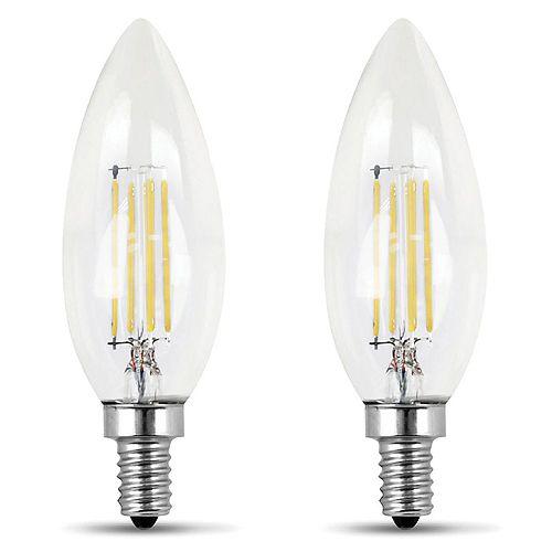 Feit Electric 100W Daylight (5000K) Clear Glass B10 Candelabra Filament LED Light Bulb (2-Pack)
