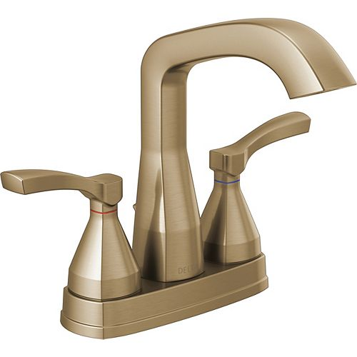 Delta Stryke 4 in. Centerset Two-Handle Bathroom Faucet With Pop-Up Drain in Champagne Bronze