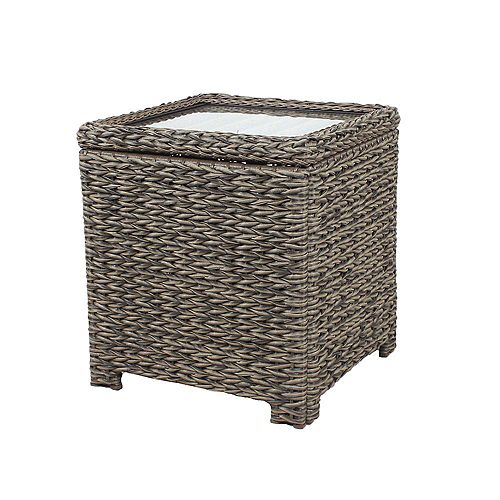 Hampton Bay Laguna Point Square Wicker Outdoor Patio Accent Table with Captured Glass Top