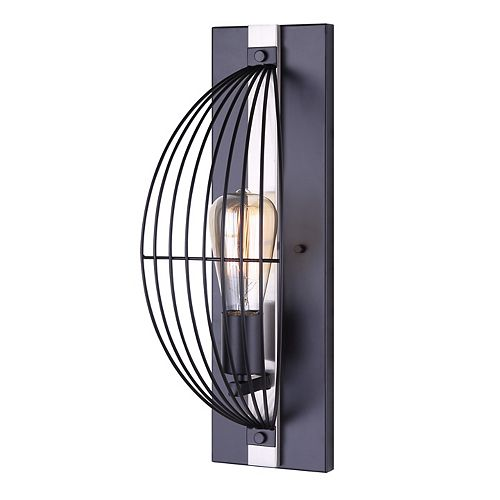 Canarm Memphis 1-Light Matte Black and Brushed Nickel Wall Sconce