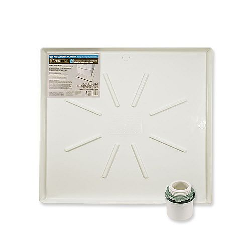 Everbilt 29 in. x 33 in. Low Profile Washing Machine Drain Pan in White