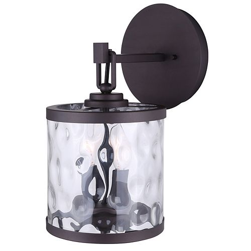 Canarm Cala 2-Light Oil Rubbed Bronze Wall Sconce with Watermark Glass
