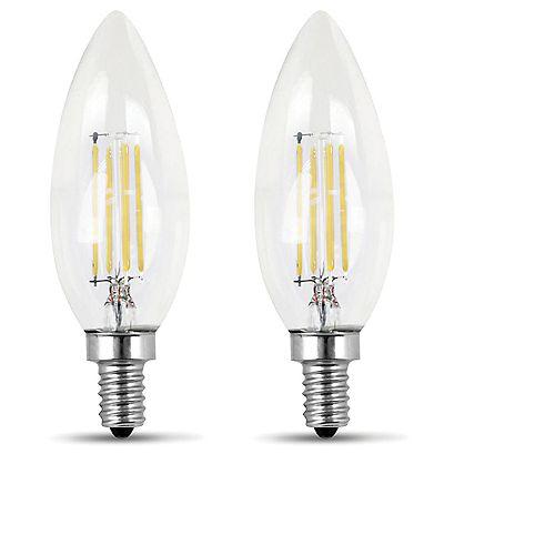 Feit Electric 100W Soft White (2700K) B10 Candelabra Filament LED Clear Glass Light Bulb (2-Pack)