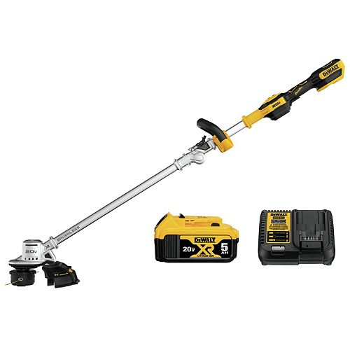 DEWALT 20V MAX Cordless 14-inch Dual Line String Trimmer (w/ 5.0Ah Battery & Charger)