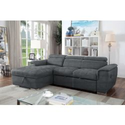 Brassex Inc. Bentley Sectional with Pull Out Bed & Storage Chaise, Grey