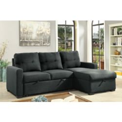 Brassex Inc. Boris Sectional with Pull Out Bed & Storage Chaise, Grey