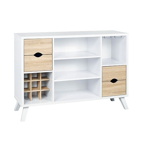 Brassex Inc. Multi-Tier Buffett / Server with Storage, White/Oak