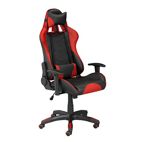 Brassex Inc. Sorrento Gaming Chair with Tilt & Recline, Black/Red