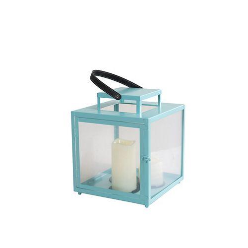 Hampton Bay Metal Lantern with 2 LED Candles in Pastel Turquoise Finish