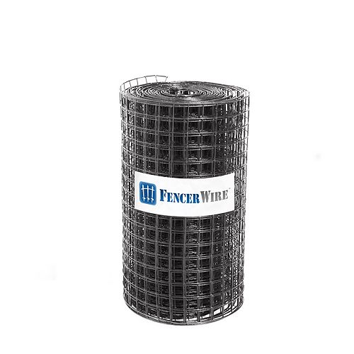 Fencer Wire 7 ft. x 100 ft. 16-Gauge Black PVC Coated Welded Wire Fence with Mesh Size 1.5 inch x 1.5 inch