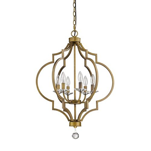 Acclaim Peyton 6-Light 30-inch Chandelier W/Crystal Bobeches In Raw Brass