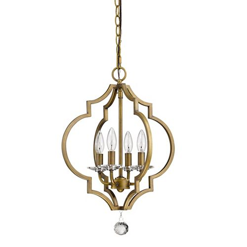 Acclaim Peyton 4-Light 21-inch Raw Brass Chandelier w/Crystal Bobeches