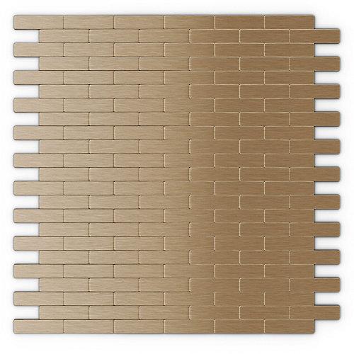 Tuile de mosaÏque auto-adhésive pour murs Bricky LC 11,81 po x 11,42 po x 5 mm, métal, cuivre pâle