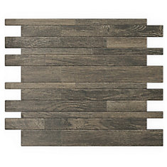 Murano Wood 12.20-inch x 9.72-inch x 5 mm Metal Self Adhesive Wall Mosaic Tile