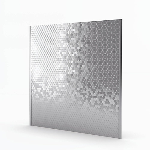 Dosseret auto-adhésif Hexagonia S2 29,6 po x 30,5 po x 5 mm, métal, acier inoxydable