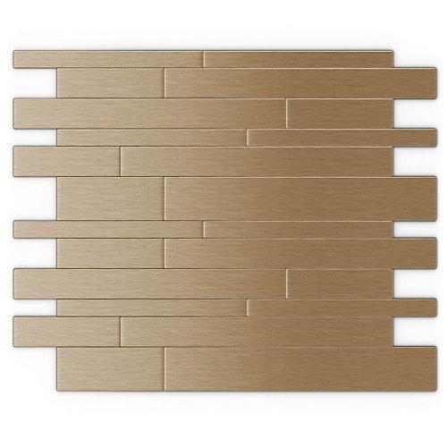 Tuile de mosaÏque auto-adhésive pour murs Murano LC 12,20 po x 9,72 po x 5 mm, métal, cuivre pâle