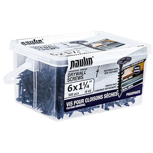 Paulin #6 X 1-/4-inch Drywall Screws Universal Thread (500 pcs)