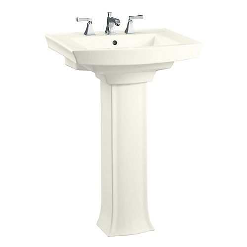 Archer 35-inch H Biscuit Vitreous China Pedestal Sink