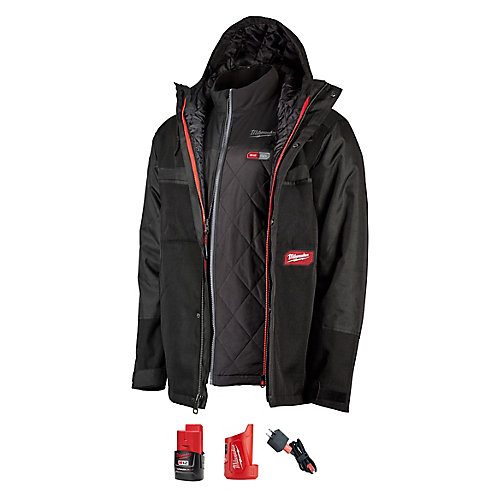 Men's X-Large M12 12V Li-Ion Cordless Gridiron 3-In-1 AXIS Heated Jacket Kit W/ 2Ah Battery&Charger