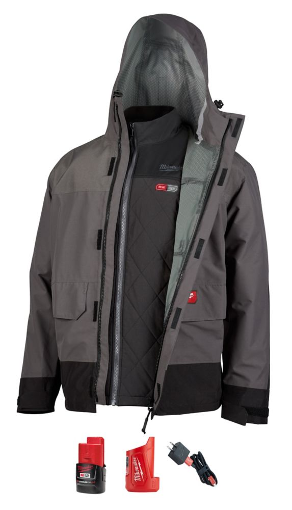 Milwaukee Tool Men's 2X M12 12V Li-Ion Cordless AXIS Heated Quilted Jacket Kit W/Gray Rainshell