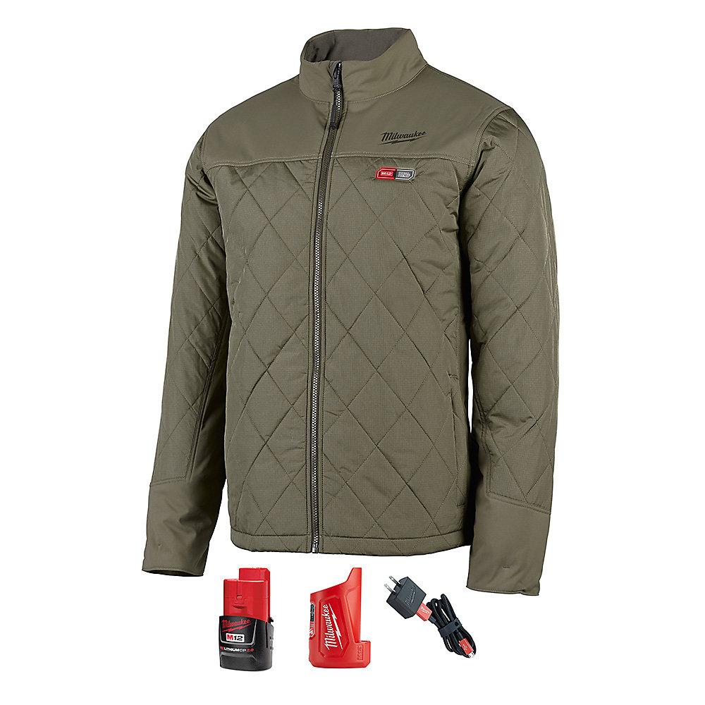 Kit veste chauffante vert olive AXIS Li-Ion AXIS M12 pour homme (L) avec 2 Ah et chargeur