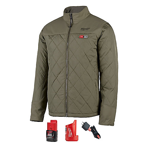 Men's (L) M12 12VLi-Ion Cordless AXIS Olive Green Heated Quilted Jacket Kit w/ 2Ah Battery & Charger