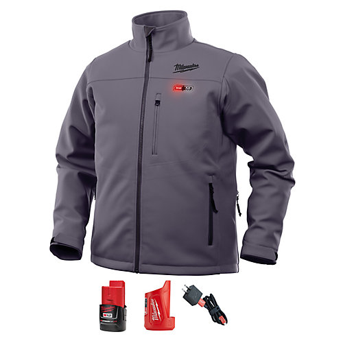 Men's Medium M12 12V Lithium-Ion Cordless Gray Heated Jacket Kit w/ (1) 2.0Ah Battery & Charger