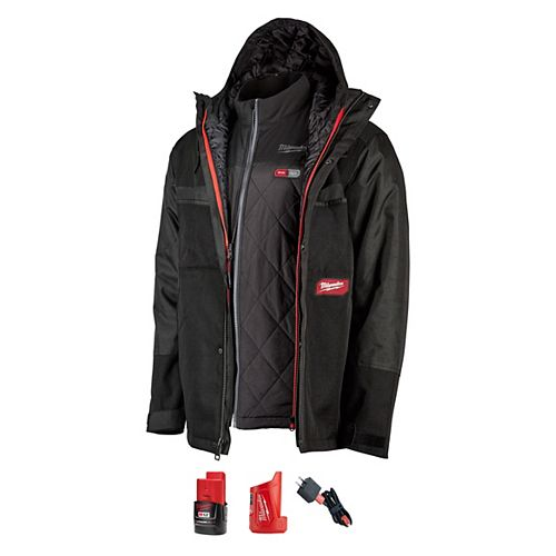 Milwaukee Tool Men's Small M12 12V Li-Ion Cordless Gridiron 3-In-1 AXIS Heated Jacket Kit W/ 2Ah Battery & Charger