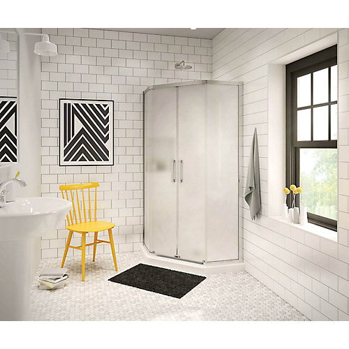 Radia 36-inch x 36-inch x 72-inch Framed Neo-Angle Sliding Shower Door in Chrome Mistelite