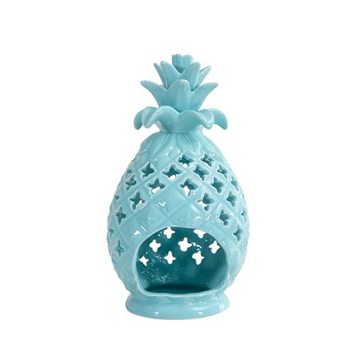 Hampton Bay Pineapple Candle Holder in Pastel Turquoise Finish