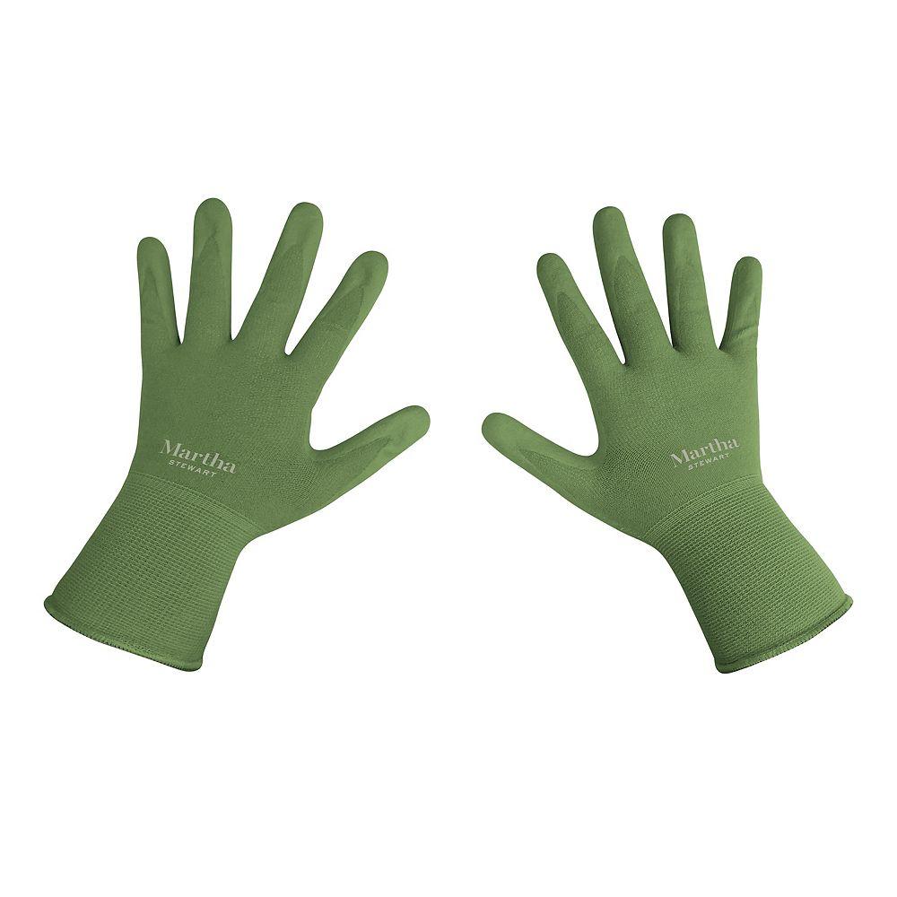 Martha Stewart Living Nitrile Coated Palm Breathable All-Purpose Non-Slip Grip Garden Gloves (Medium)