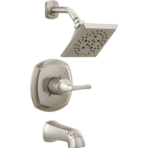 DELTA Portwood Single-Handle Tub and Shower with H2Okinetic in SpotShield Brushed Nickel (Valve Included)