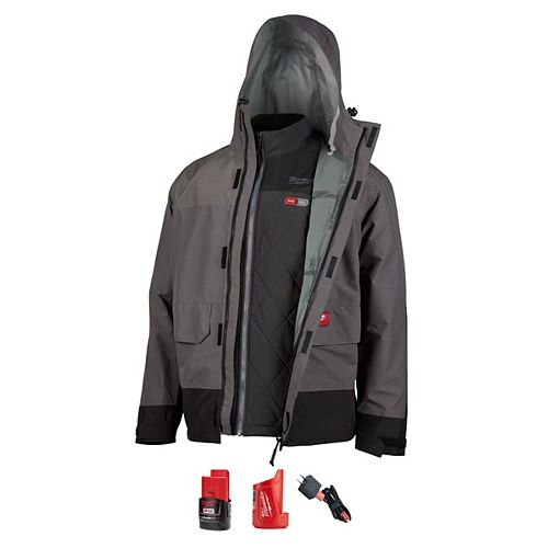 Milwaukee Tool Men's M M12 12V Li-Ion Cordless AXIS Heated Quilted Jacket Kit W/Gray Rainshell, 2Ah Battery&Charger