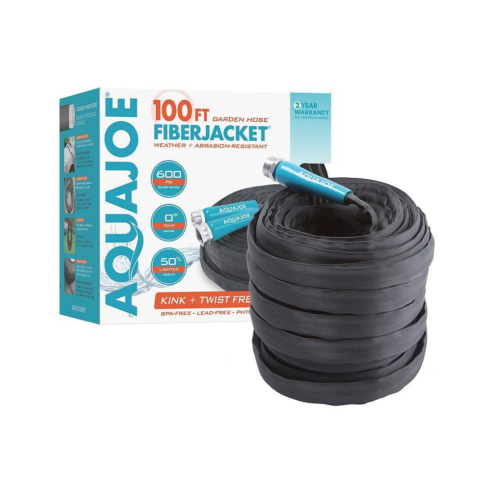 Sun Joe Aqua Joe 100 ft. x 5/8-inch Fiber Jacket Non-Expanding Kink-Free Garden Hose