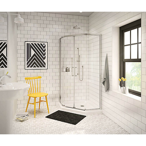 Radia 40-inch x 40-inch x 72-inch Framed Neo-Angle Sliding Shower Door in Chrome Clear