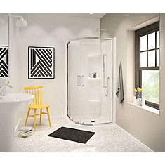 Radia 32-inch x 32-inch x 72-inch Framed Neo-Round Sliding Shower Door in Chrome Clear