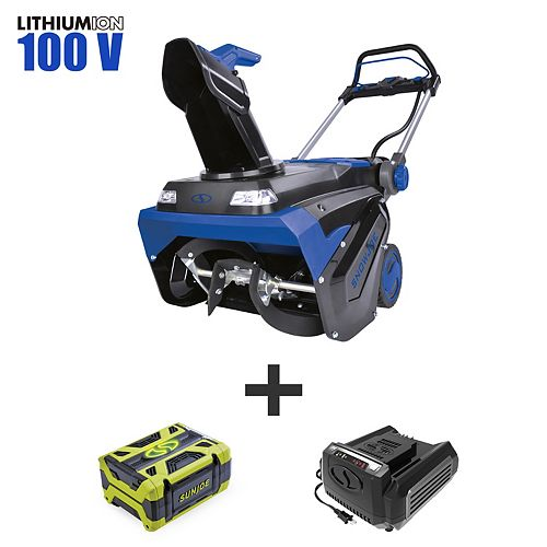 Snow Joe Brushless Lithium-iON Cordless Variable Speed Single Stage Snowblower - 21-Inch, 100-Volt, 5-Ah