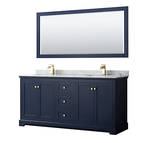 Avery 72 Inch Double Vanity in Dark Blue, White Carrara Marble Top, Square Sinks, 70 Inch Mirror