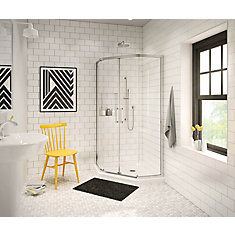 Radia 36-inch x 36-inch x 72-inch Framed Neo-Angle Sliding Shower Door in Chrome Clear