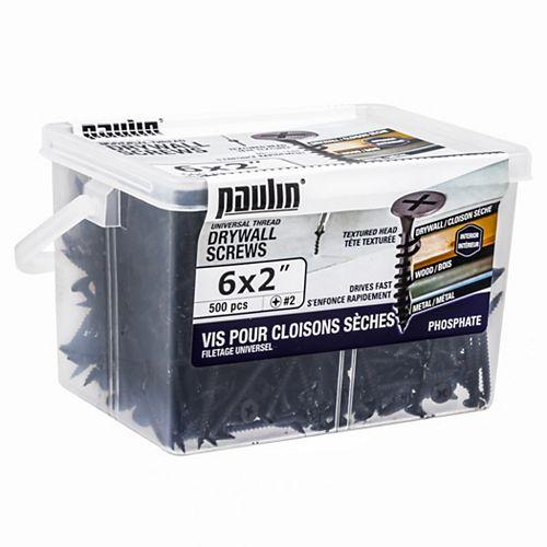 Paulin Vis à cloison sèche #6 X 2 pouces à filetage universel (500 pcs)